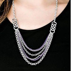 Purple necklace/earrings paparazzi